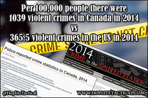 Canada vs the US violent crime in 2014.