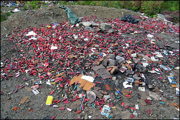 Trash left on crown land by irresponsible shooters.