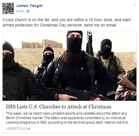 James Yeager offers armed protection this Christmas.