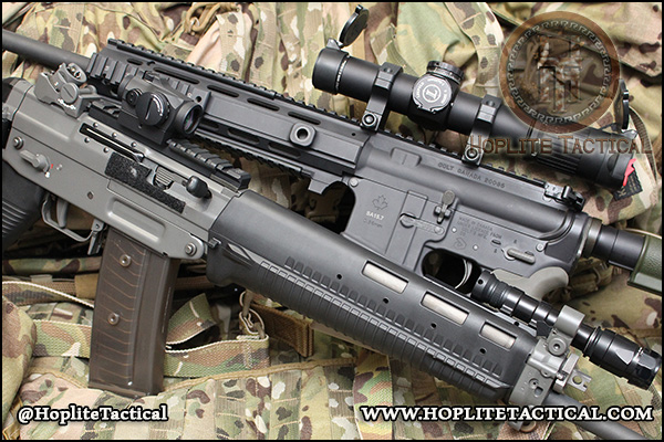 Two of the Modern Sporting Rifles that we've had at Hoplite Tactical. A Colt Canada IUR AR-15, and a Swiss Arms SIG Carbine.