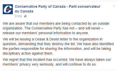 Statement released by the CPC on Facebook.